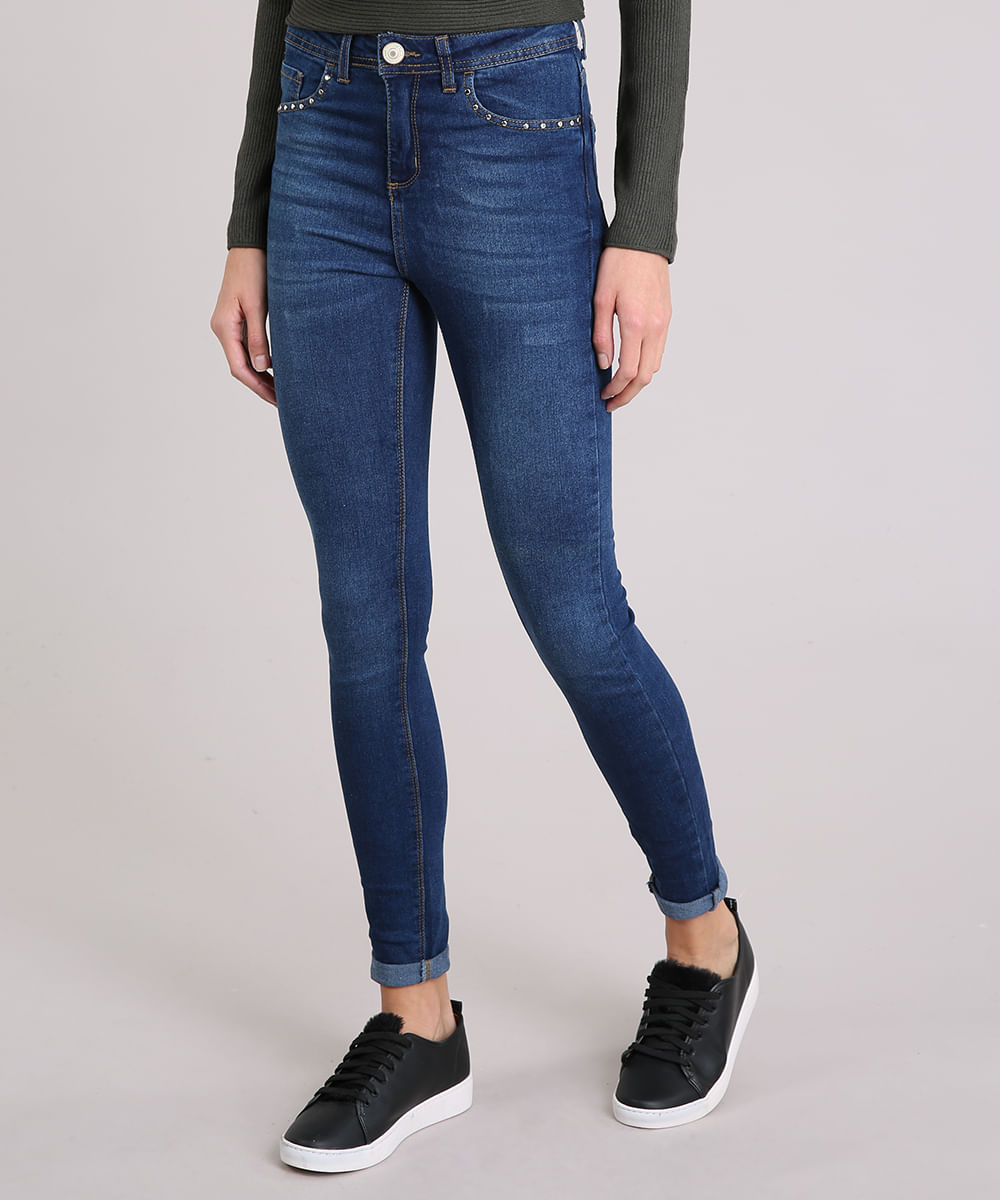 0e4a50ba1 Calça Jeans Feminina Cigarrete Cintura Alta Tachas Azul Escuro - cea