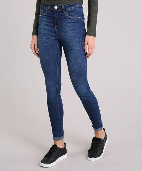 Calca-Jeans-Feminina-Cigarrete-Cintura-Alta-Tachas-Azul-Escuro-9035720-Azul_Escuro_1
