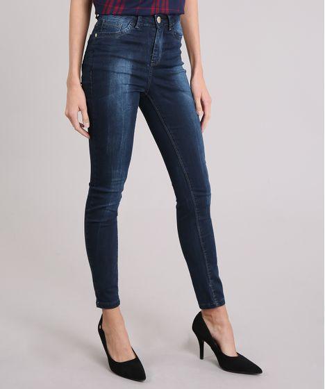 a9b0f1f1e Calça Jeans Feminina Super Skinny Cintura Alta Azul Escuro - cea