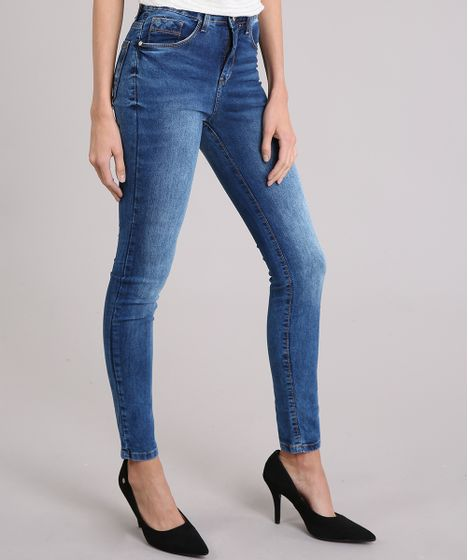 17112b230 Calça Jeans Feminina Super Skinny Cintura Alta Azul Médio - cea