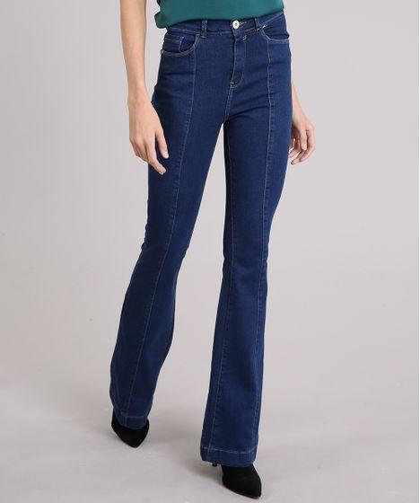 3b510b7c0 Calça Jeans Feminina Flare Cintura Super Alta Azul Escuro - cea