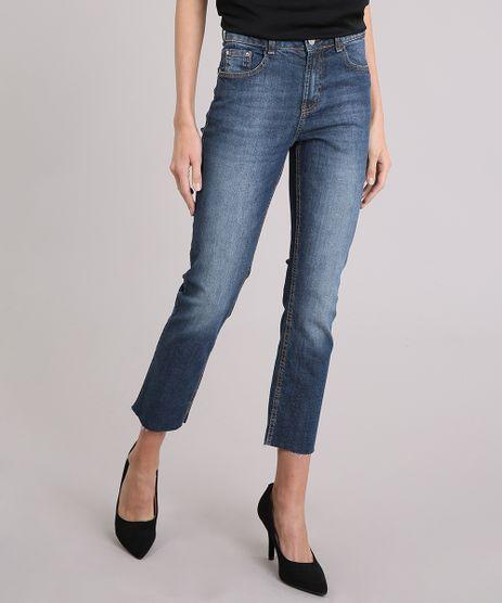 Calca-Jeans-Feminina-Reta-com-Barra-Desfiada-Cintura-Alta-Azul-Escuro-9116260-Azul_Escuro_1