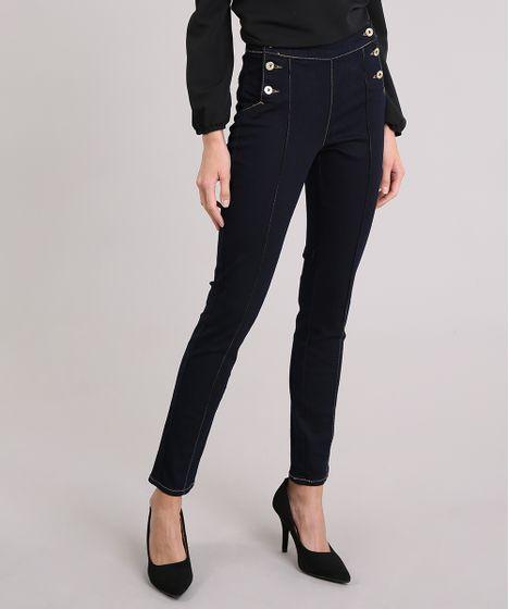 98ce35075 Calça Jeans Feminina Skinny Cintura Alta Azul Escuro - cea