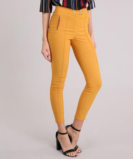 Calca-Feminina-Slim-com-Recortes-Amarelo-Escuro-9034268-Amarelo_Escuro_1