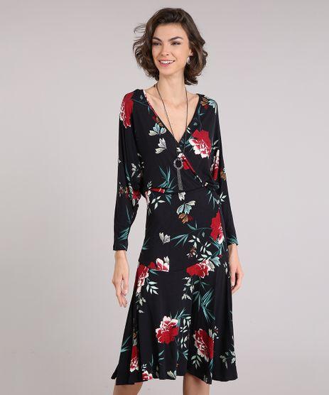 Vestido-Feminino-Midi-Estampado-Floral-com-Decote-V-Transpassado-Manga-Longa-Preto-9162673-Preto_1