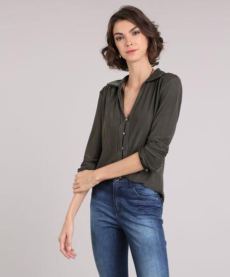 Camisa-Feminina-Texturizada-com-Botoes-Manga-Longa-Gola-V-Esporte-Verde-Militar-9150210-Verde_Militar_1