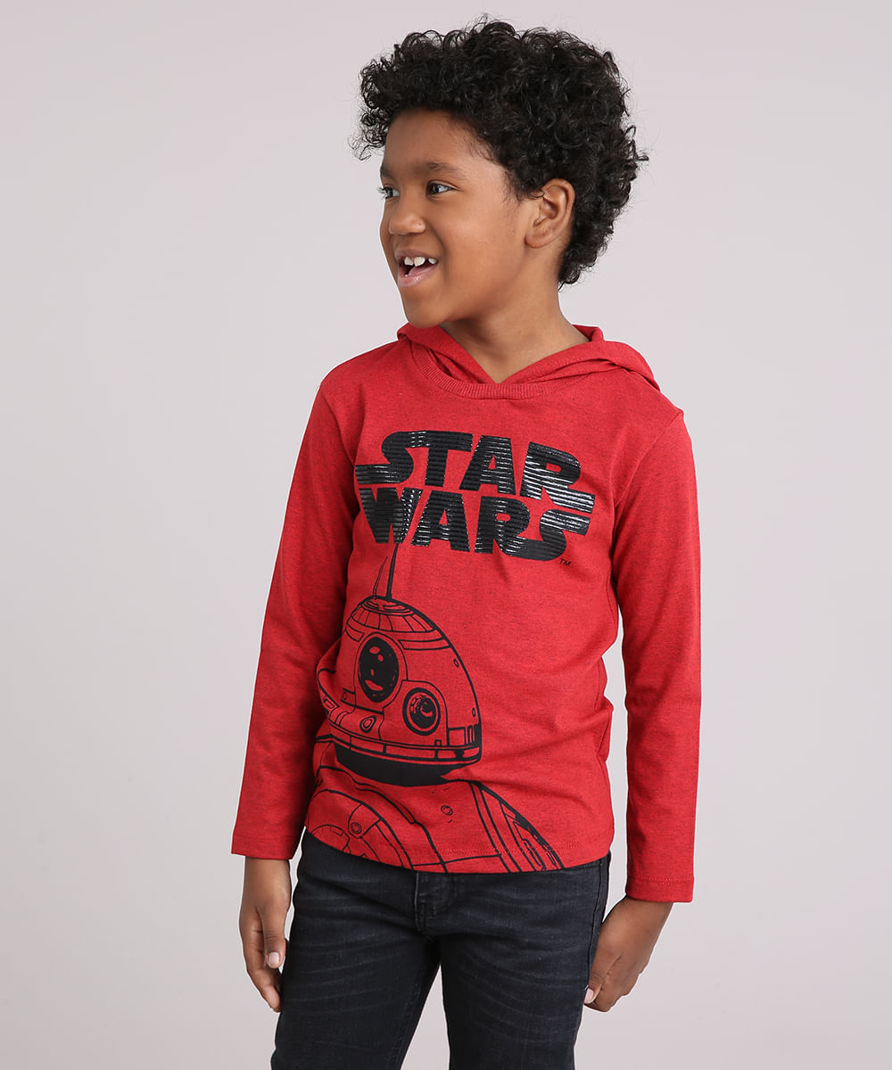 1f5c6544f05be Camiseta Infantil Star Wars BB-8 Manga Longa com Capuz Vermelha - cea