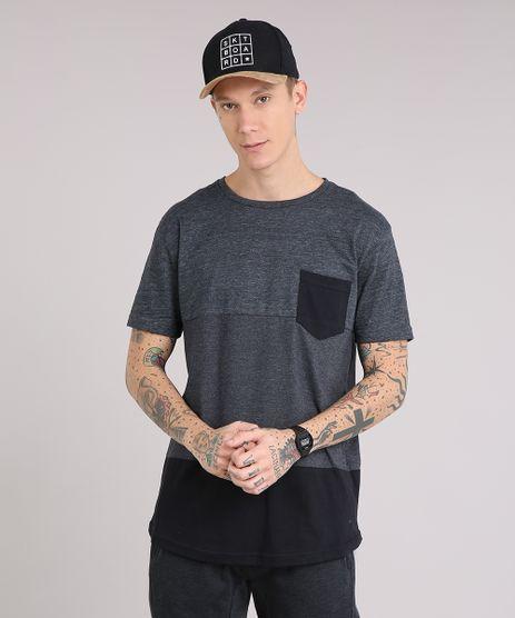 Camiseta-Masculina-Longa-com-Recorte-e-Bolso-Manga-Curta-Gola-Careca-Cinza-Mescla-Escuro-9153499-Cinza_Mescla_Escuro_1