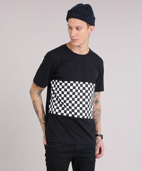 Camiseta-Masculina-com-Recorte-Estampado-Manga-Curta-Gola-Careca-Preta-9204676-Preto_1