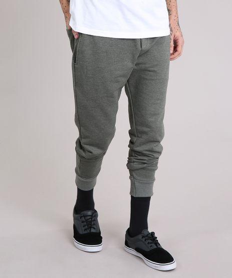 Calca-Masculina-Jogger-em-Moletom-com-Bolsos-Verde-Militar-8585545-Verde_Militar_1