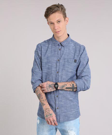 Camisa-Masculina-com-Bolso-Manga-Longa-Azul-8877191-Azul_1
