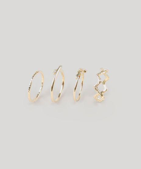Kit-de-4-Aneis-Femininos--Love--Dourado-9160675-Dourado_1