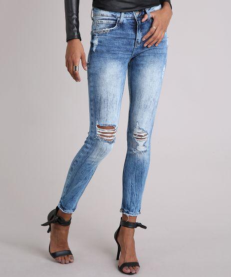Calca-Jeans-Feminina-Super-Skinny-Destroyed-com-Piercings-Azul-Medio-9102250-Azul_Medio_1