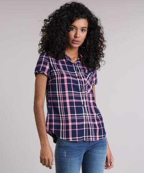 Camisa-Feminina-Xadrez-Manga-Curta-Rosa-9102846-Rosa_1