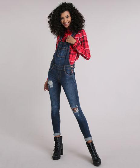 Macacao-Jeans-Feminino-Skinny-Destroyed-com-Bolsos-Azul-Escuro-9112675-Azul_Escuro_1