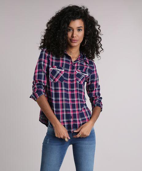 Camisa-Feminina-Xadrez-Manga-Longa-com-Renda-Azul-Marinho-9102851-Azul_Marinho_1