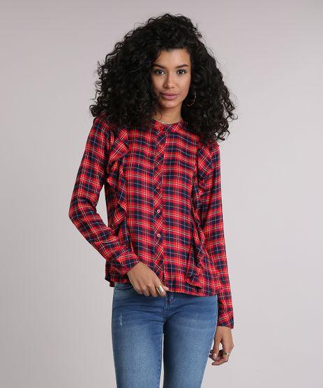 Camisa-Feminina-Xadrez-com-Babado-Manga-Longa-Vermelha-8918196-Vermelho_1