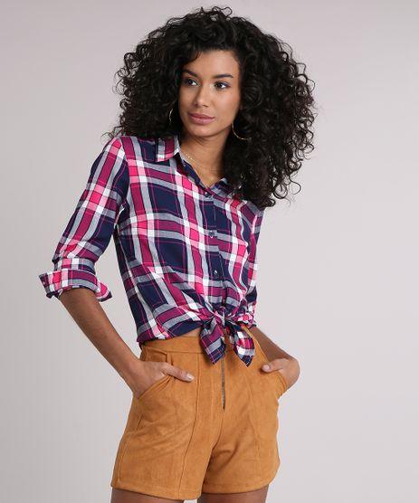 Camisa-Feminina-Xadrez-Manga-Longa-Azul-Marinho-9102852-Azul_Marinho_1
