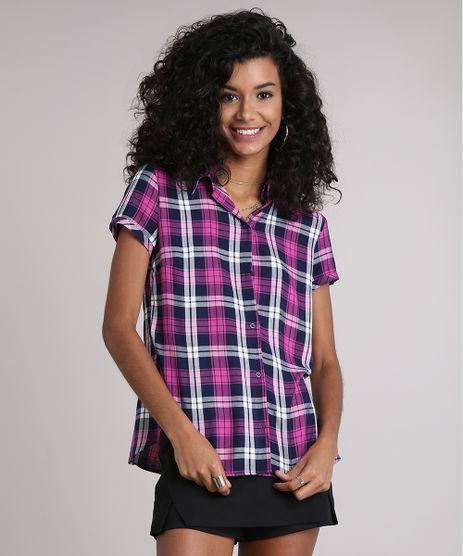 Camisa-Feminina-Xadrez-Manga-Curta-Roxa-9102841-Roxo_1