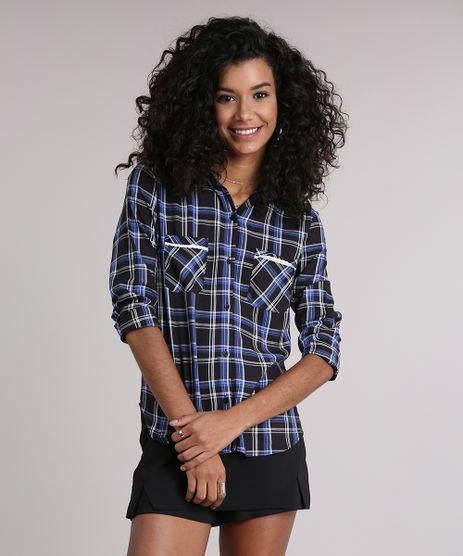 Camisa-Feminina-Xadrez-Manga-Longa-com-Renda-Preta-9102851-Preto_1