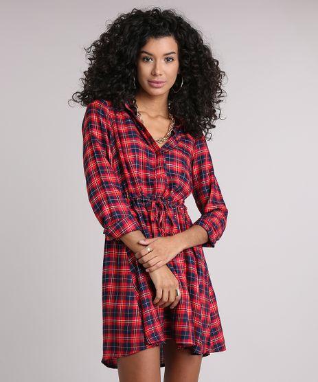 Vestido-Chemise-Feminino-Xadrez-Manga-Longa-Vermelha-8917639-Vermelho_1