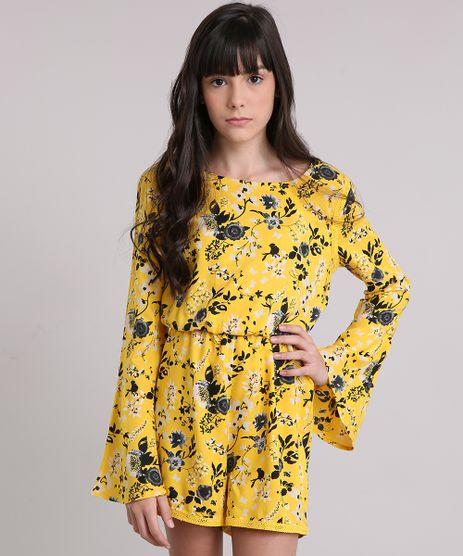 Macaquinho-Infantil-Estampado-Floral-com-Renda-Manga-Longa-Decote-Redondo-Amarelo-8846134-Amarelo_1