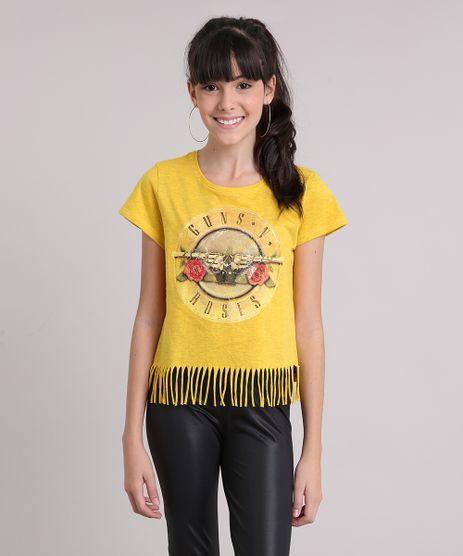 Blusa-Infantil--Guns-n-Roses--Manga-Curta-Decote-Redondo-com-Franjas-Amarelo-Escuro-9148867-Amarelo_Escuro_1