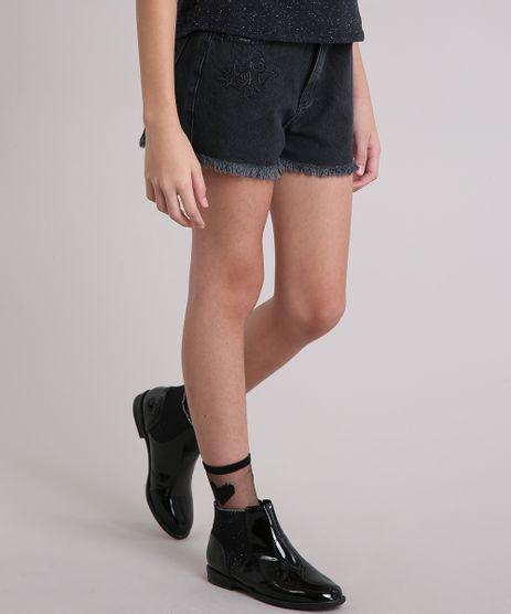 Short-Jeans-Infantil-Bordado-com-Barra-Desfiada-Preto-9142272-Preto_1