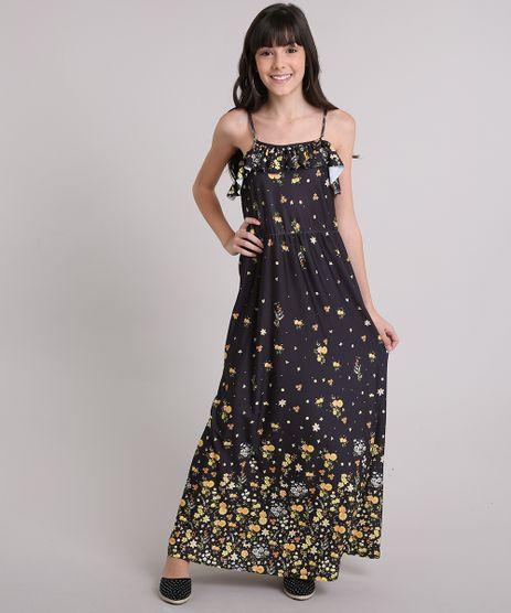Vestido-Longo-Infantil-Estampado-Floral-com-Babado-com-Alcas-Fina-Preto-9146241-Preto_1