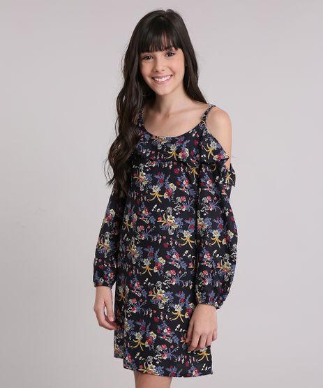 Vestido-Infantil-Open-Shoulder-Estampado-Floral-Curto-Preto-8846640-Preto_1