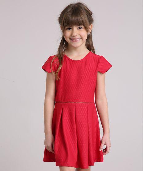 Vestido-Infantil-em-Jacquard-com-Pregas-Manga-Curta-Decote-Redondo-Vermelho-9198653-Vermelho_1