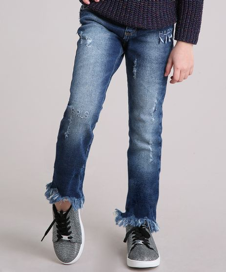Calca-Infantil-Jeans-com-Bordado--Happy--e-Barra-Desfiada-Azul-Escuro-9142715-Azul_Escuro_1