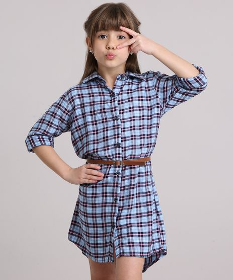 Vestido-Chemise-Xadrez-Manga-Longa-com-Cinto-Azul-Claro-9170668-Azul_Claro_1