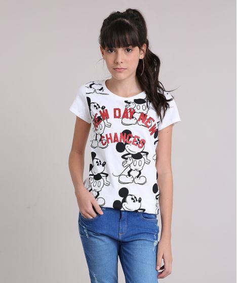 9eed41556 Blusa Infantil Mickey Mouse Manga Curta Decote Redondo Off White - cea