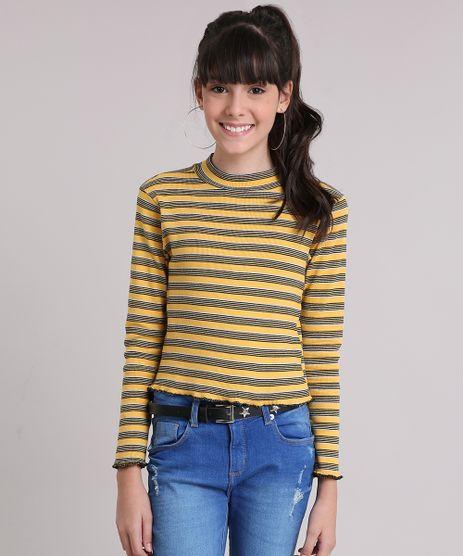 Blusa-Infantil-Cropped-Listrada-Gola-Alta-Manga-Longa-Amarelo-Escuro-9175390-Amarelo_Escuro_1