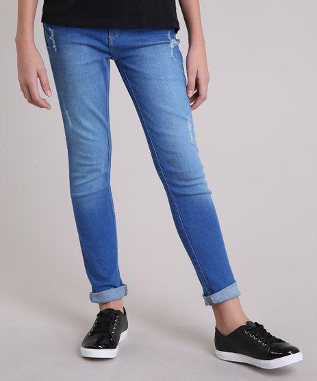 Calca-Jeans-Infantil-com-Puidos-e-Barra-Desfiada-em-Algodao---Sustentavel-Azul-Medio-9158766-Azul_Medio_1