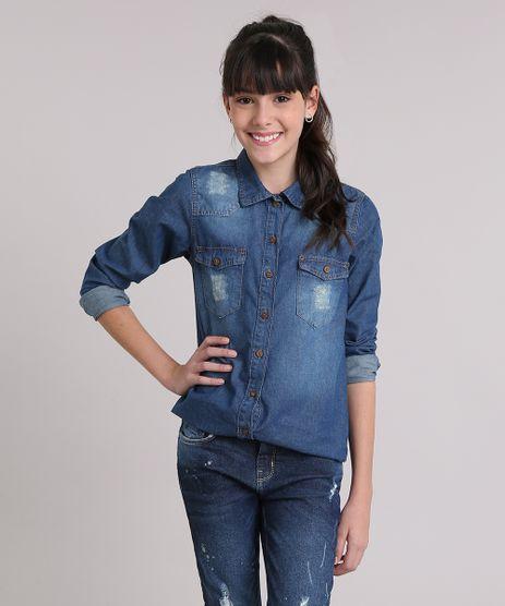 Camisa-Jeans-Infantil-com-Bolsos-Manga-Longa-Azul-Escuro-9068668-Azul_Escuro_1