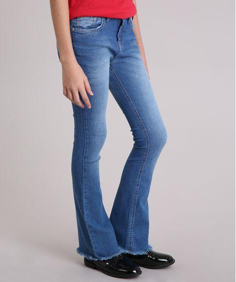 15c7eb9e3 Calça Jeans Infantil Flare com Barra Desfiada Azul Médio - cea