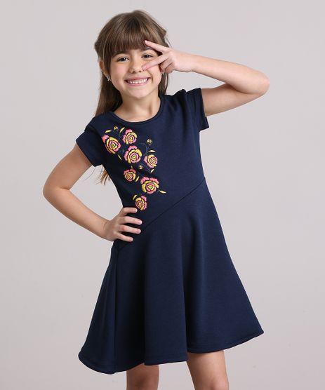 Vestido-Infantil-Flores-Manga-Curta-Decote-Redondo-Azul-Marinho-9195752-Azul_Marinho_1