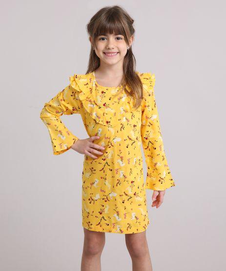 Vestido-Infantil-Estampado-Floral-Manga-Longa-Decote-Redondo-com-Babado-Amarelo-8846653-Amarelo_1