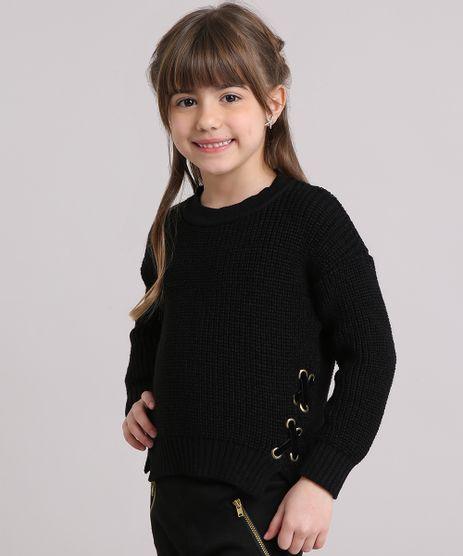 Sueter-Infantil-em-Trico-com-Lace-up-Decote-Redondo-Manga-Longa-Preto-9140692-Preto_1