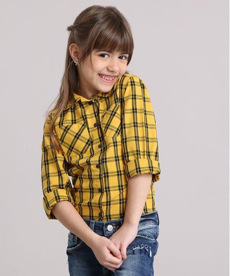 Camisa-Infantil-Xadrez-com-Bolsos-Manga-Longa-Amarela-9016192-Amarelo_1