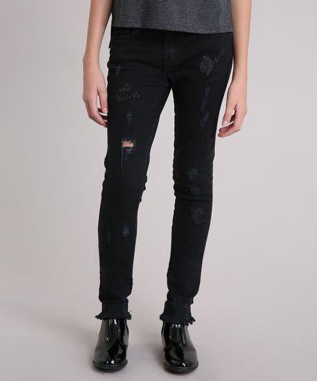 Calca-Jeans-Infantil-com-Puidos-e-Bordado-Floral-Preta-9142271-Preto_1