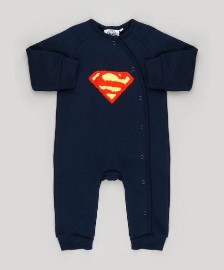 Macacao-Infantil-Super-Homem-em-Moletom-Manga-Longa-em-Algodao---Sustentavel-Azul-Marinho-8909792-Azul_Marinho_1