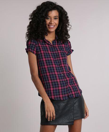 Camisa-Feminina-Xadrez-Manga-Curta-com-Franzido-Preta-9102842-Preto_1