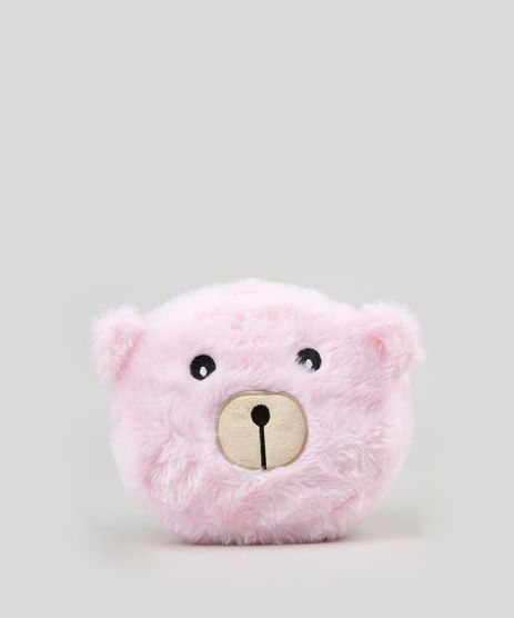 Necessaire-Feminina-Urso-com-Orelhinhas-em-Pelucia-Rosa-Claro-9117730-Rosa_Claro_1