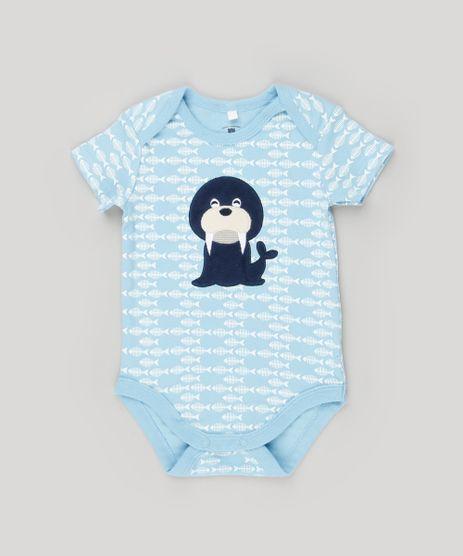 Body-Infantil-Estampado-Leao-Marinho-Manga-Curta-Gola-Redonda-em-Algodao---Sustentavel-Azul-Claro-8934380-Azul_Claro_1