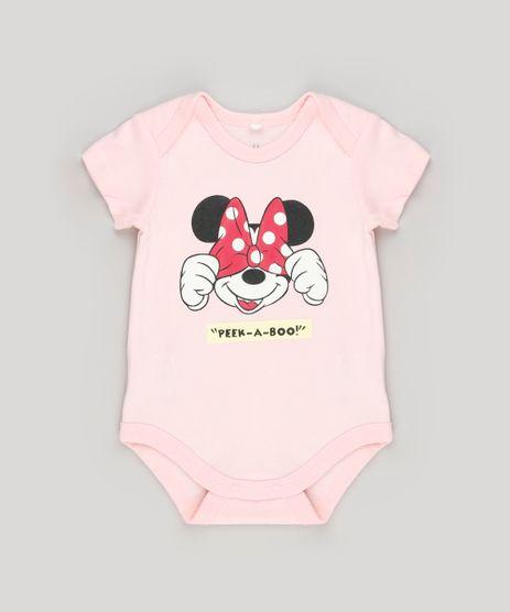Body-Infantil-Minnie--Peek-a-Boo--Manga-Curta-Decote-Redondo-em-Algodao---Sustentavel-Rosa-Claro-8920308-Rosa_Claro_1