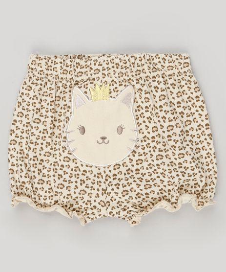 Short-Infantil-Estampado-Animal-Print-em-Algodao---Sustentavel-Bege-8934324-Bege_1