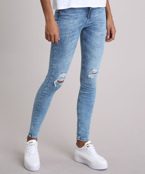 Calca-Jeans-Feminina-Super-Skinny-com-Rasgos-e-Ilhoses-Azul-Claro-9140634-Azul_Claro_1